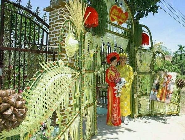 Cổng hoa cưới lá dừa đẹp