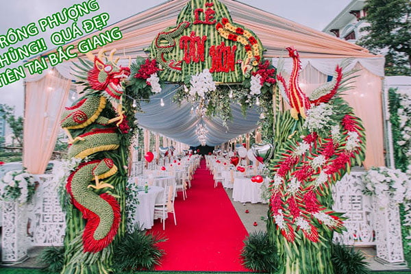 Cổng hoa cưới rồng phượng ở bắc giang