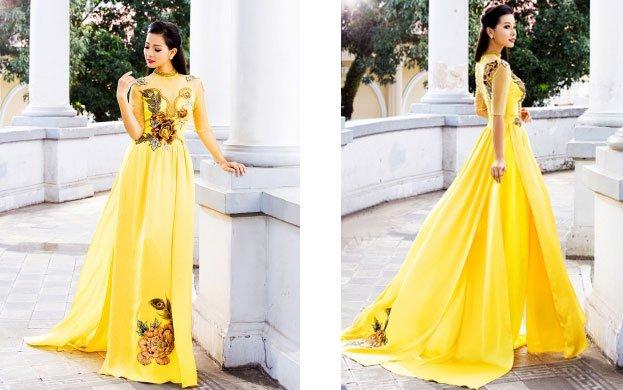 áo dài màu vàng cho lễ cưới