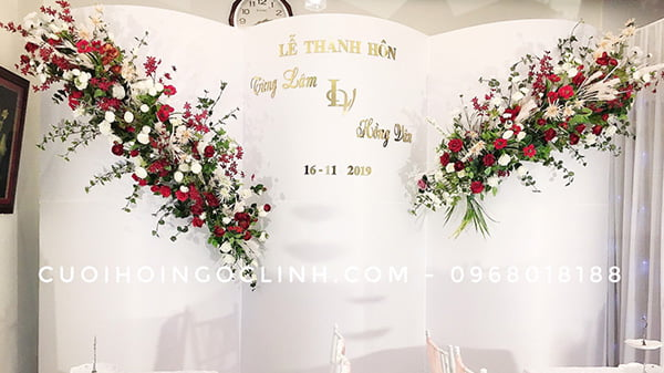 hình ảnh backdrop trang trí tiệc cưới