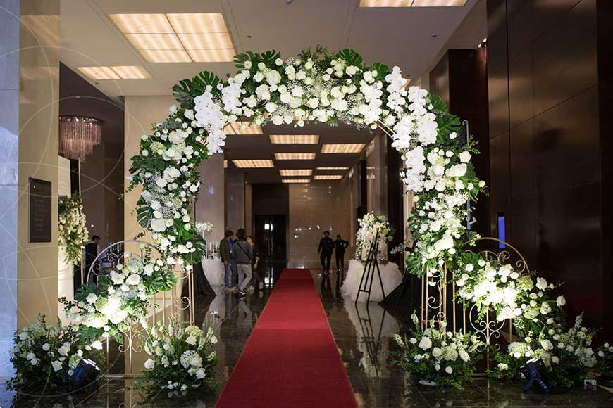 mẫu cổng cưới màu xanh tuyệt đẹp